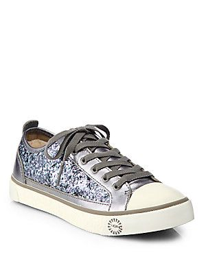 UGG Australia Evera Glitter & Metallic Leather Lace-Up Sneakers