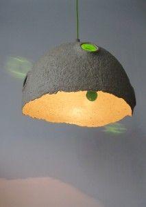 handmade lamp from paper pulp - paper mache lamp - mazuni    www.mazuni.pl