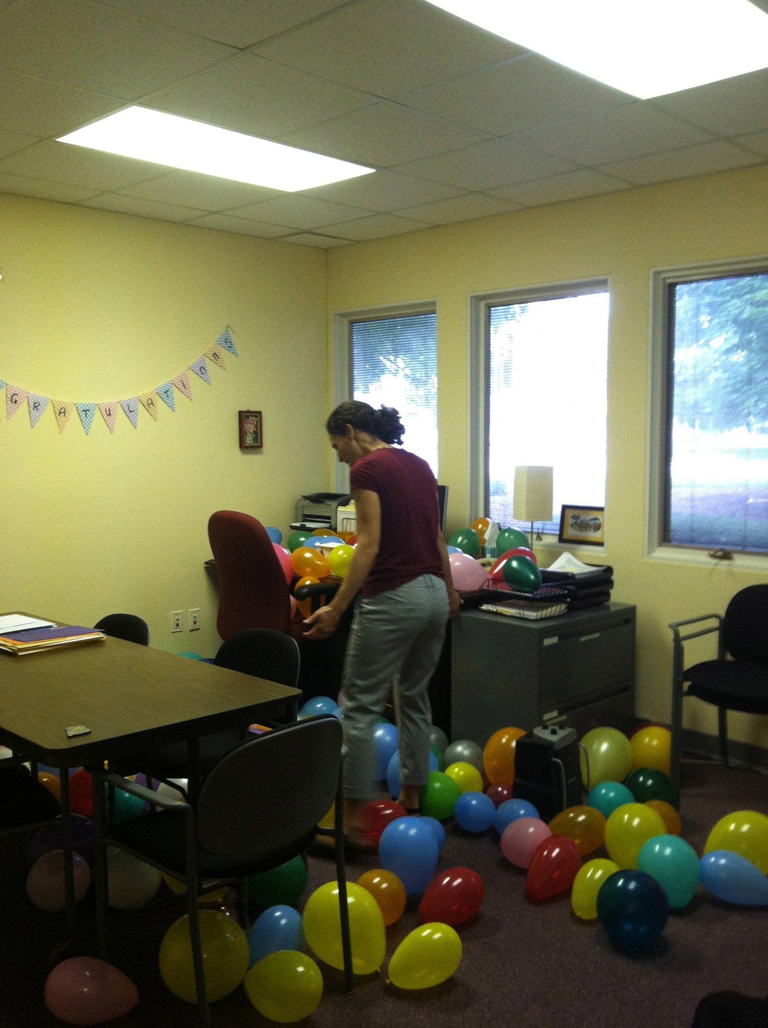 A Sea Of Balloons To Welcome Back Ea Director Jennifer Quijano Sax Ball Exercises Balloons Ball