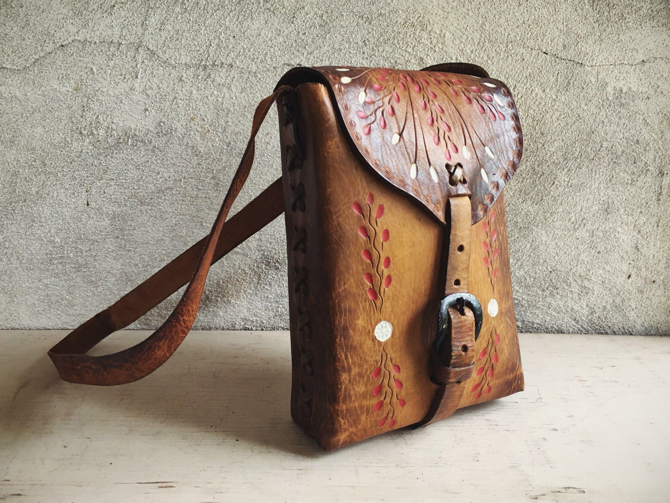 10ac1f9c9cef Small Satchel Purse Mexican Tooled Leather Purse Boho Fashion ...