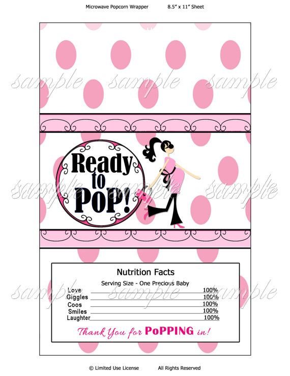 Printable Ready To Pop Baby Shower Popcorn Wrapper Gift Ideas