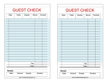 These printable guest checks are useful as restaurant, cafe, hotel ...