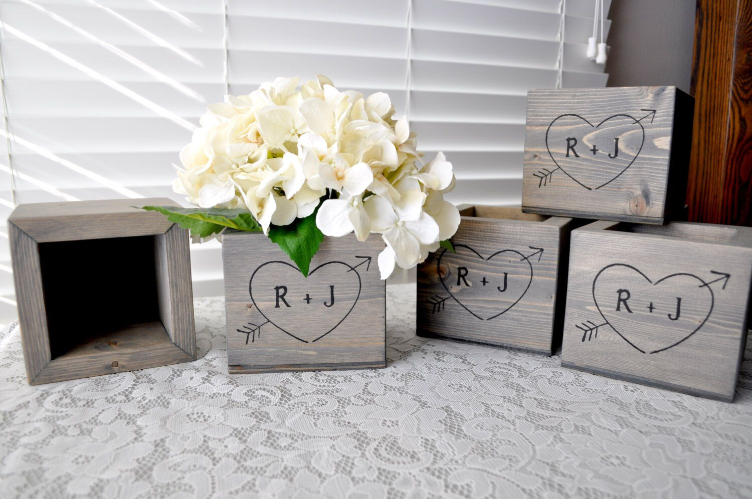 Wedding decoration ideas for home  Personalized PINE Rustic Woodland Wooden Flower Box Planter Wedding