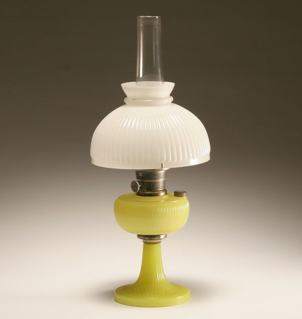 Aladdin Vertique Moonstone Kerosene Oil Lamp In Yellow With White Ribbed  Shade. For A Touch