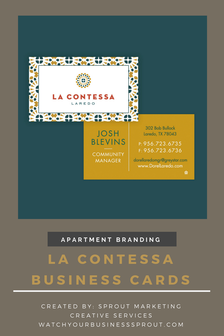 Preview La Contessa Apartments Business Cards Created By Sprout Marketing Creative Services Need Help With Your Market Apartment Branding Branding Marketing