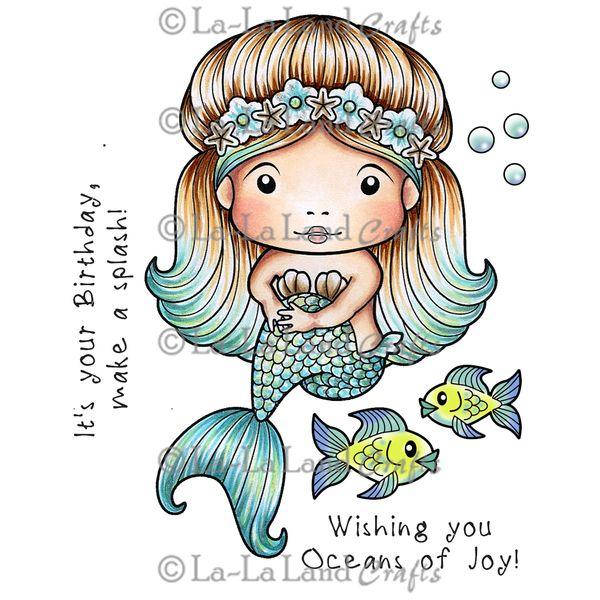 La La Land Cling Mount Rubber Stamp - Sitting Mermaid Marci
