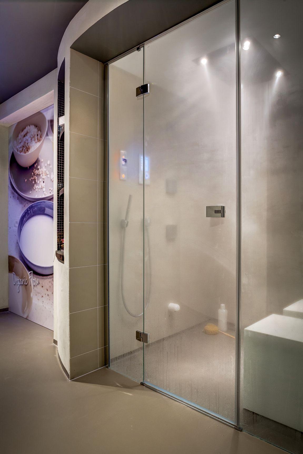 Cleopatras steam shower with hansgrohe rainbrain shower