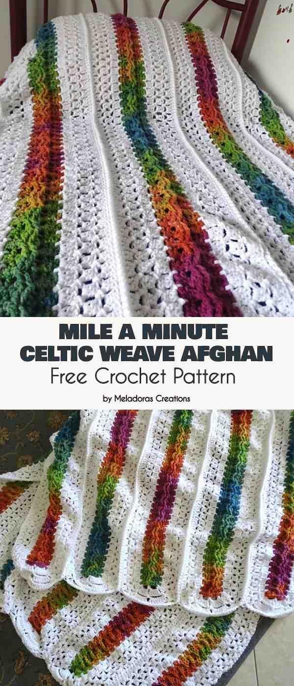 Mile A Minute Celtic Weave Afghan Free Crochet Pattern Crochet