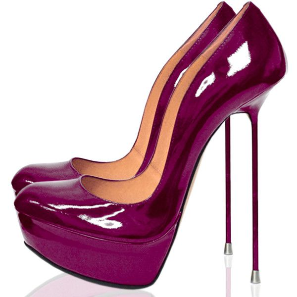 ÖXIA AUBERGINE (€525) ❤ liked on Polyvore featuring shoes, pumps, high heel platform shoes, round cap, patent platform pumps, round toe pumps and patent leather platform pumps