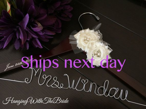 ships next business day, Wedding hanger, custom wire hanger, bridal hanger, bride gift, bridesmaids gift, custom made hanger