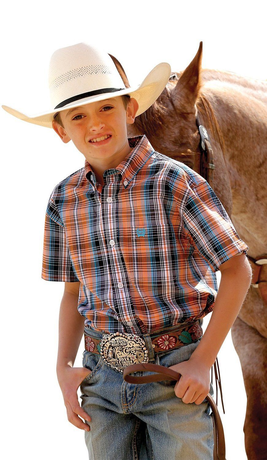 2d8e28099b Boys Cinch Shirt  Boys Cinch Western Shirt. This short sleeve Western shirt  from Cinch features plaid design  one open pocket  logo embroidery on  pocket  ...