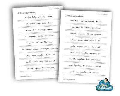 RECURSOS PRIMARIA | Fichas para ordenar palabras ~ La Eduteca
