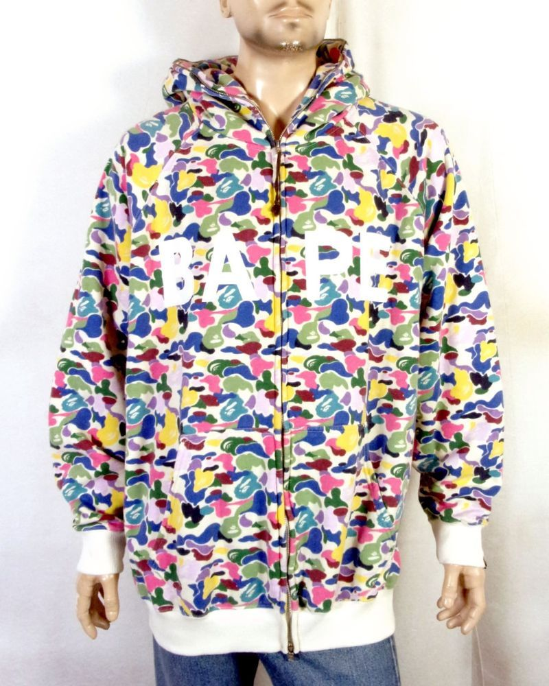 865d0e0e75d2 euc BAPE A Bathing Ape BOOTLEG Colorful Pattern Full Zip Hoodie Sweatshirt  4XL
