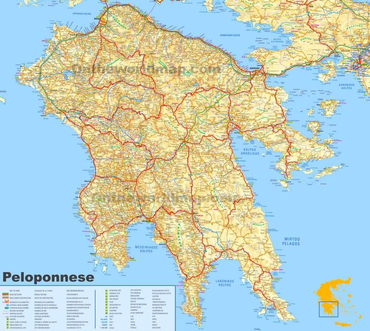 Large detailed map of Peloponnese Maps Pinterest