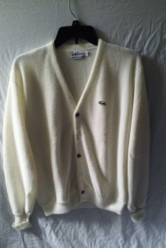 19b68fac9f4 Mens Vintage Izod Lacoste Sweater Cardigan Size Large Alligator Off White   IzodLacoste  Cardigan