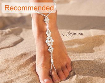a8239f631c9ed3 Beaded barefoot sandals Bridal foot jewelry Pearl by BarmineClub