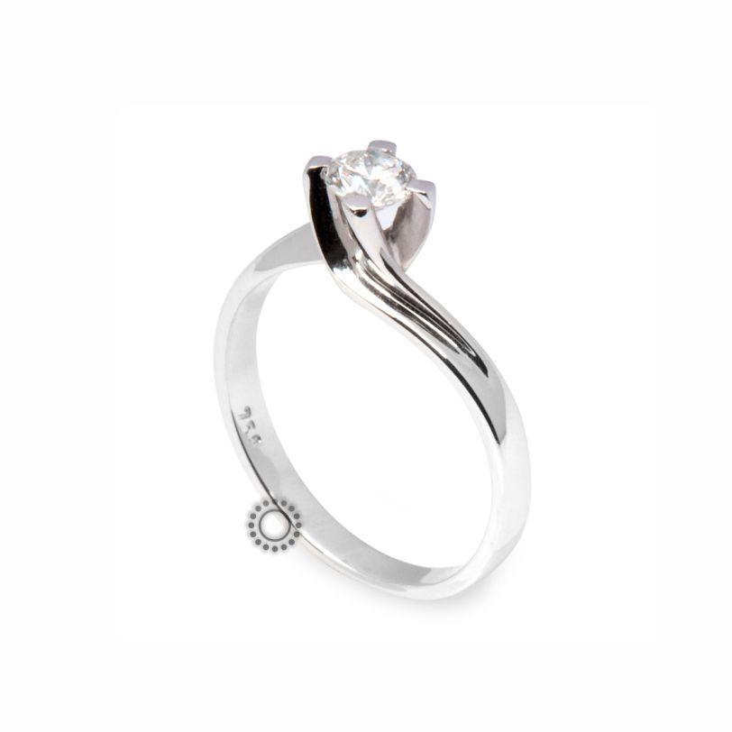 Μονόπετρο δαχτυλίδι φλόγα με Brilliant (μπριγιάν) από λευκόχρυσο Κ18  d34ec4357da