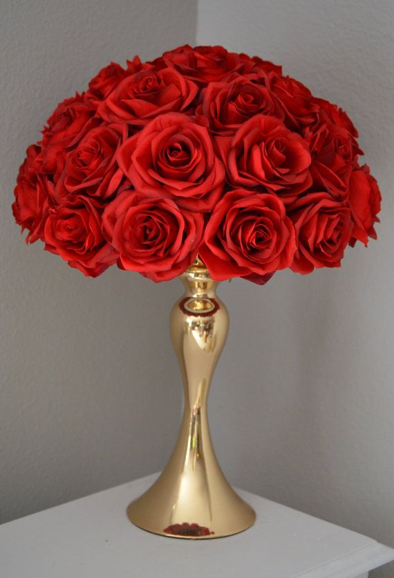 Red rose arrangement half flower ball pomander by