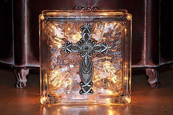 Lighted glass block w/ cross