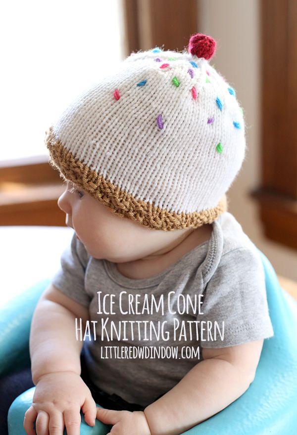 Ice Cream Hat Knitting Pattern | Stricken und häkeln, Stricken und ...