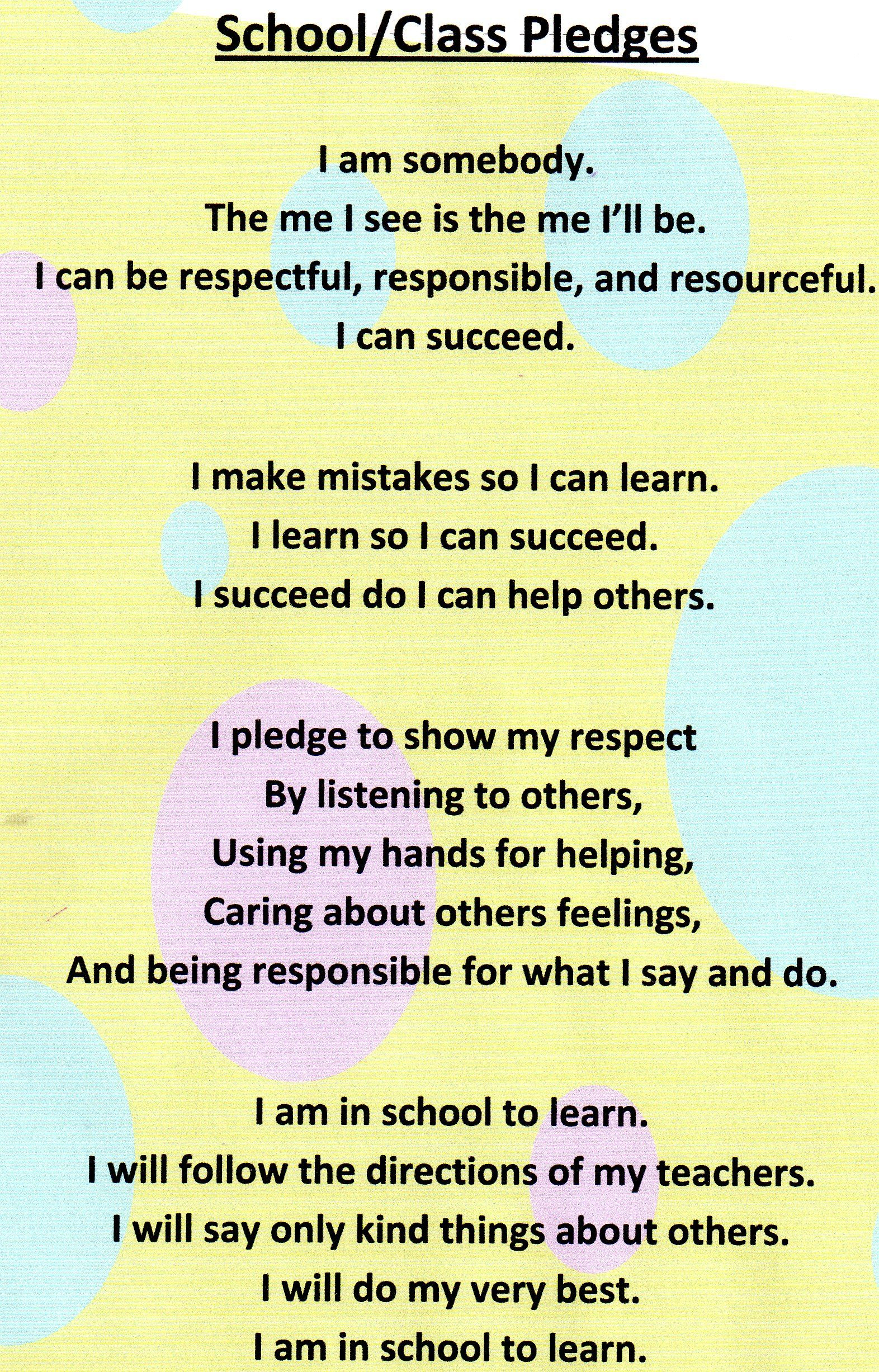 School/Class Pledges for K-2 with some tweaks | Leader In ...