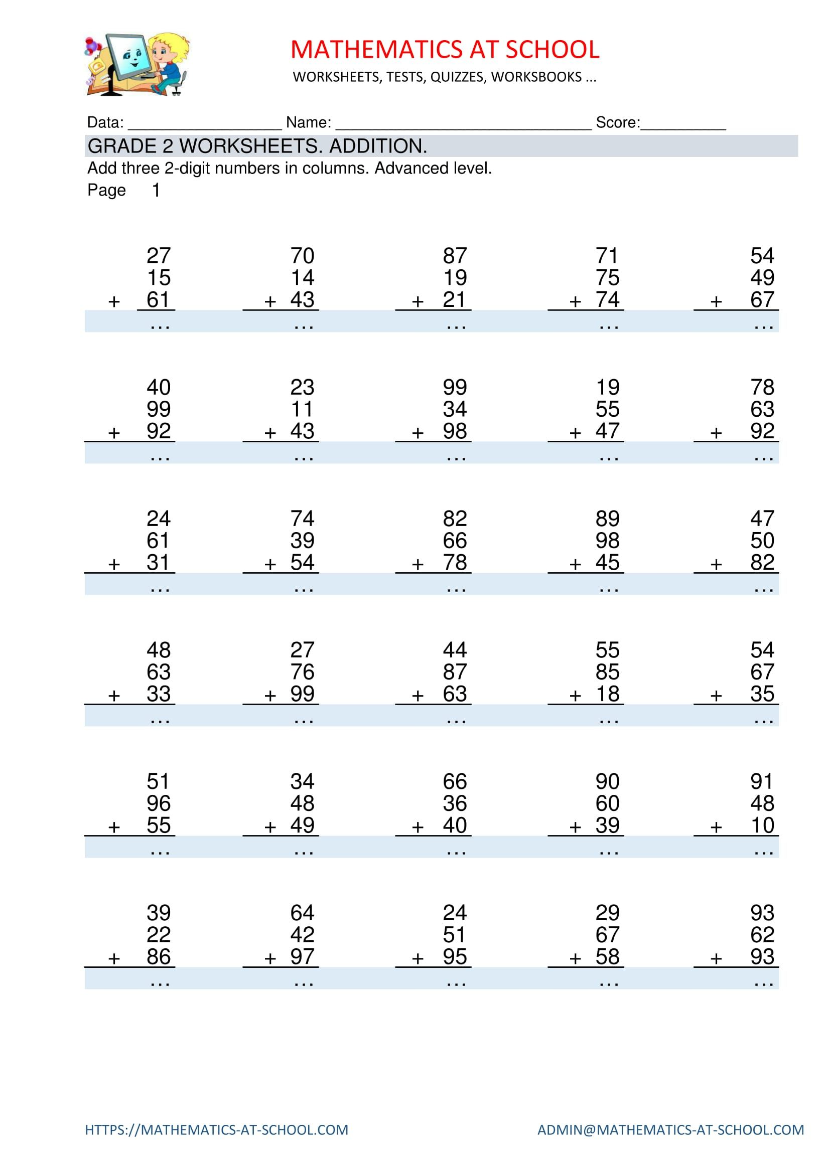GRADE 2 MATHS WORKSHEETS: Addition Adding three 2-digit numbers in columns.  Worksheets with answers. …   Kids math worksheets [ 2339 x 1654 Pixel ]