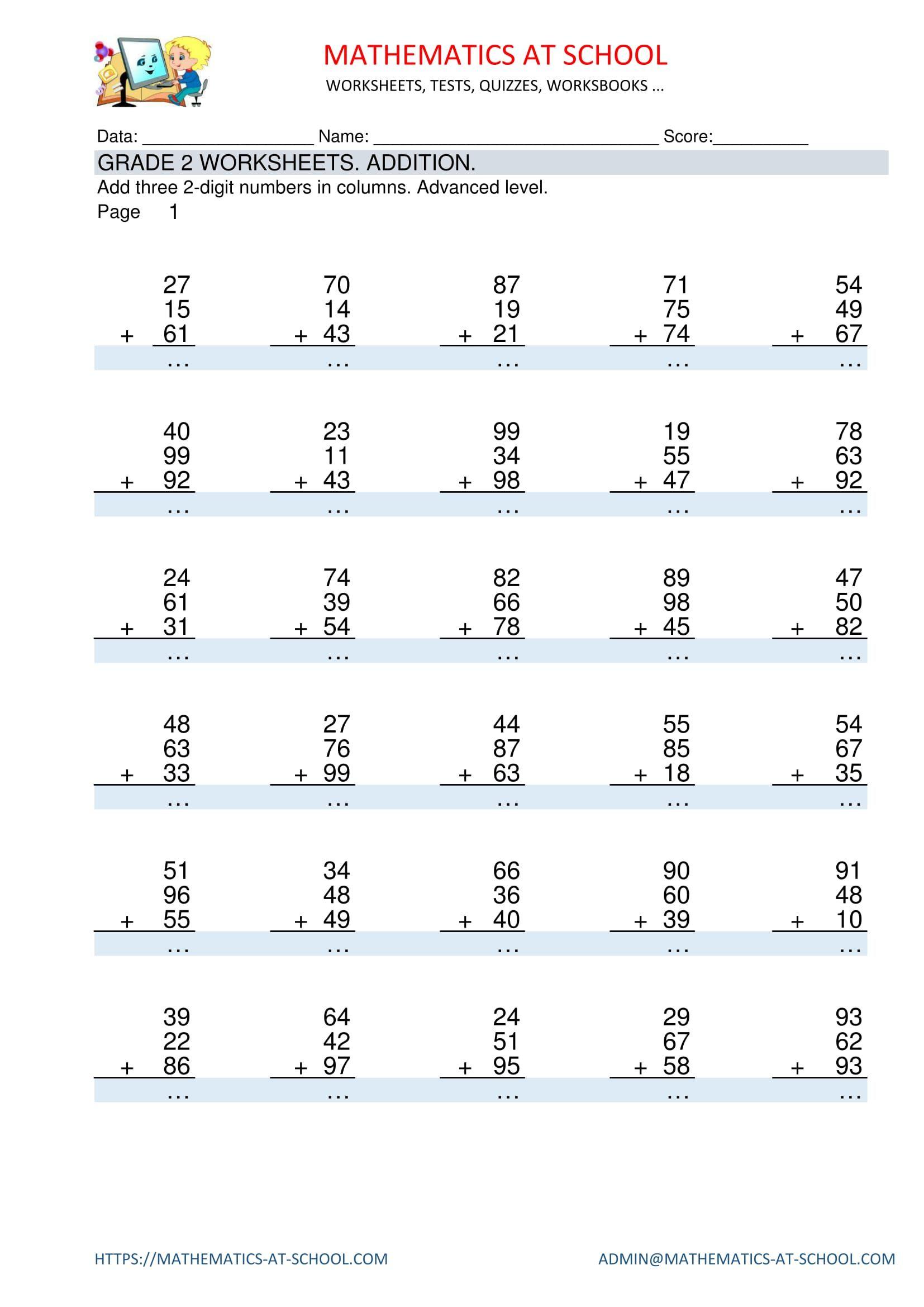 medium resolution of GRADE 2 MATHS WORKSHEETS: Addition Adding three 2-digit numbers in columns.  Worksheets with answers. …   Kids math worksheets