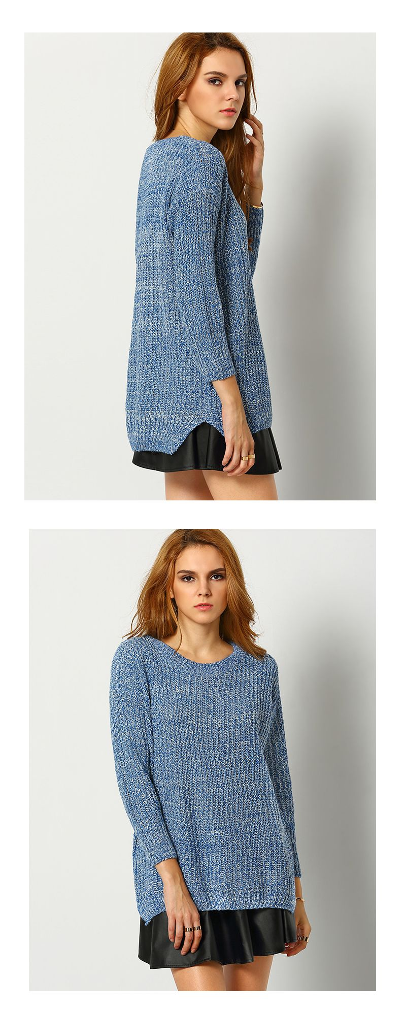 Sweater weather again ! Sweater fashion can not fade never ! More fall sweater ,knit sweater and ladies sweater here at shein .com .Blue Long Sleeve Dipped Hem Loose Sweater.