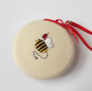 Unique Hand Embroidery Made In England Merry Santa Bee Christmas Decoration