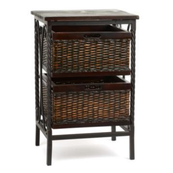 Awesome Espresso Wicker Basket Accent Table