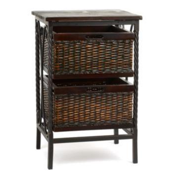 Espresso Wicker Basket Accent Table At Kirklands Organization Storage