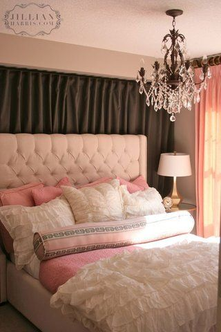 Curtains Ideas cream bedding and curtains : Dark brown accent wall, cream & light pink bedding, matching ...