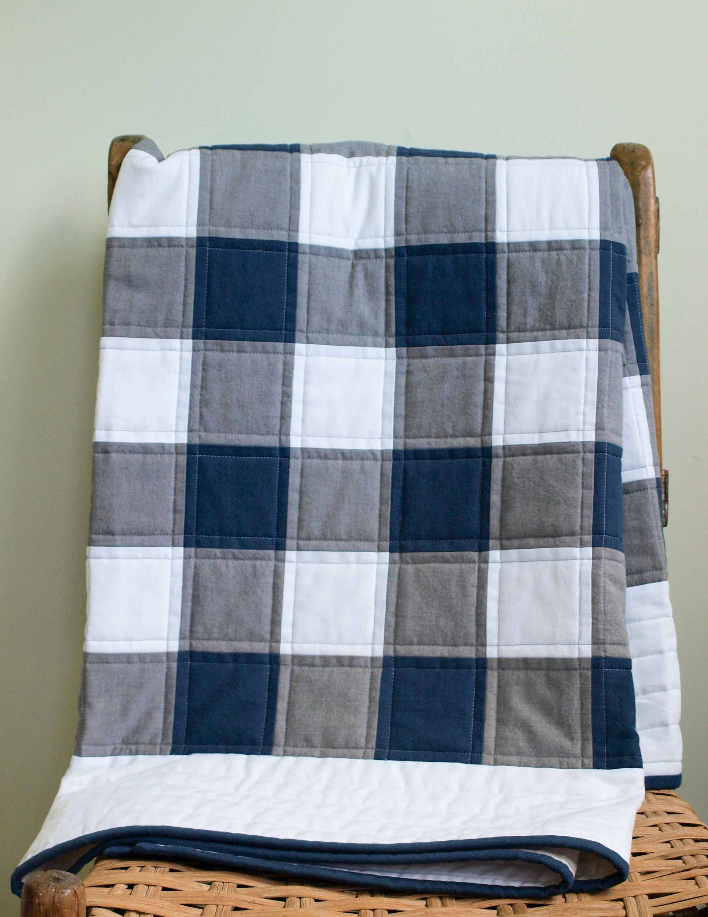 Buffalo Check Plaid Organic Quilt Navy Gray White Rustic Modern Patchwork Toddler Throw Quilt Custom Modern Baby Or Wedding Quilt Gift Organic Quilt Buffalo Plaid Quilt Quilted Gifts