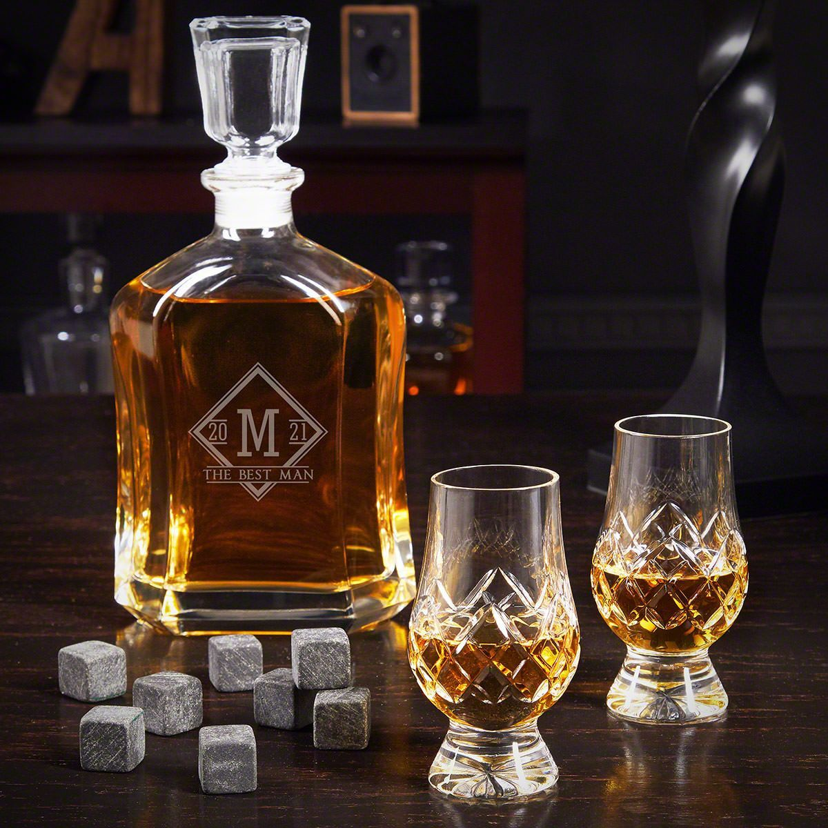 Drake Argos Personalized Decanter Set With Crystal Glencairn Glasses Engraved Beer Mugs Crystal Decanter Set Whiskey Decanter Set