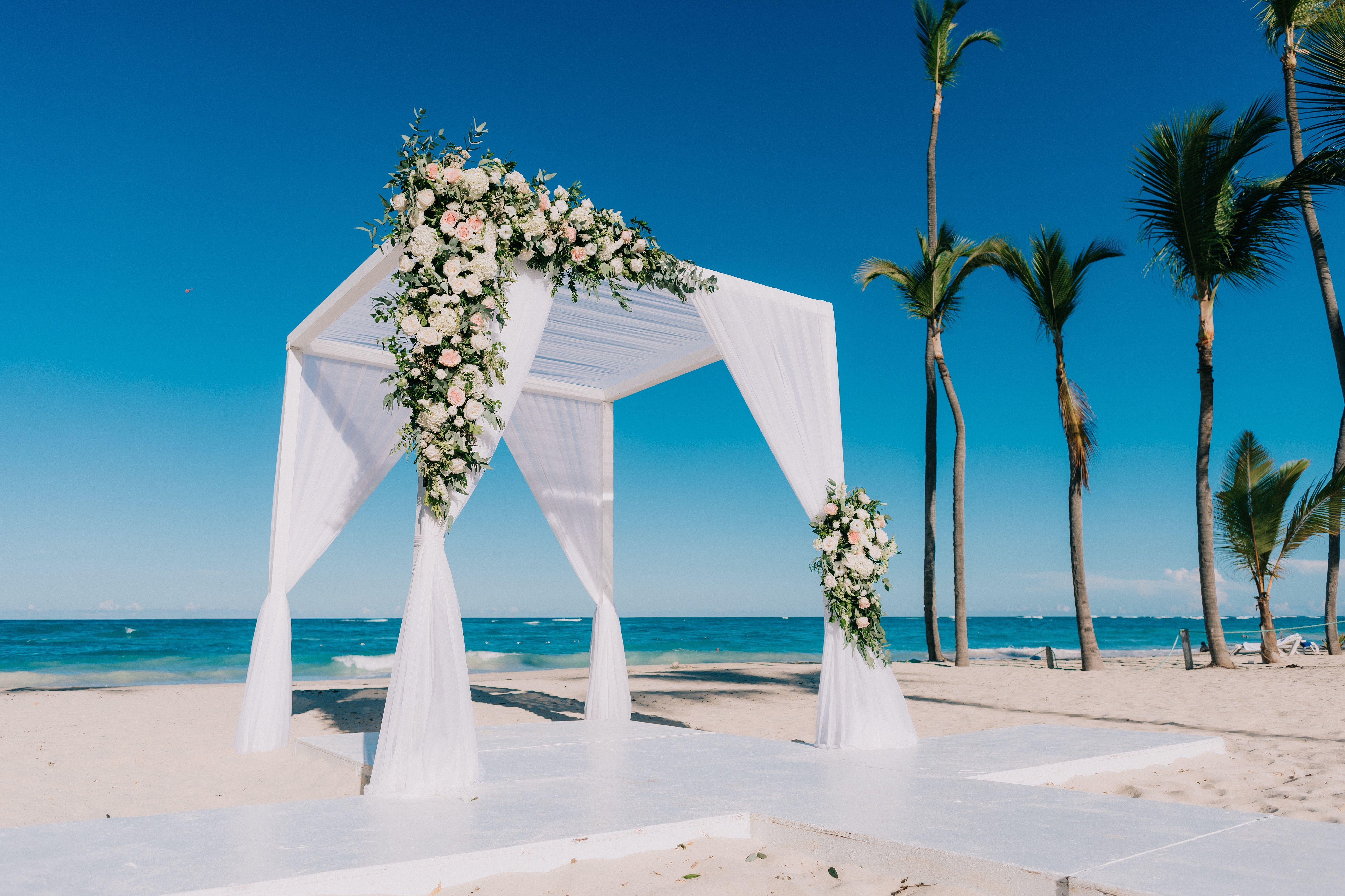 Destination Wedding Gazebo Set Against The Blue See And Sky Is