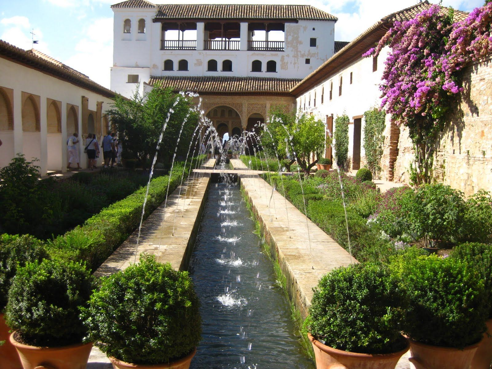 granada spain alhambra interior garden at sunny day