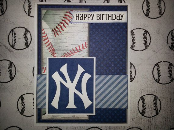 Handmade New York Yankees Birthday Card By Itspolkaspotted On Etsy