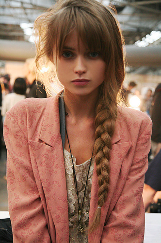 Side Braid Rough Pink Blazer Lace Tee Bangs Purple Y Lip With Leather Chord Pendant Necklace