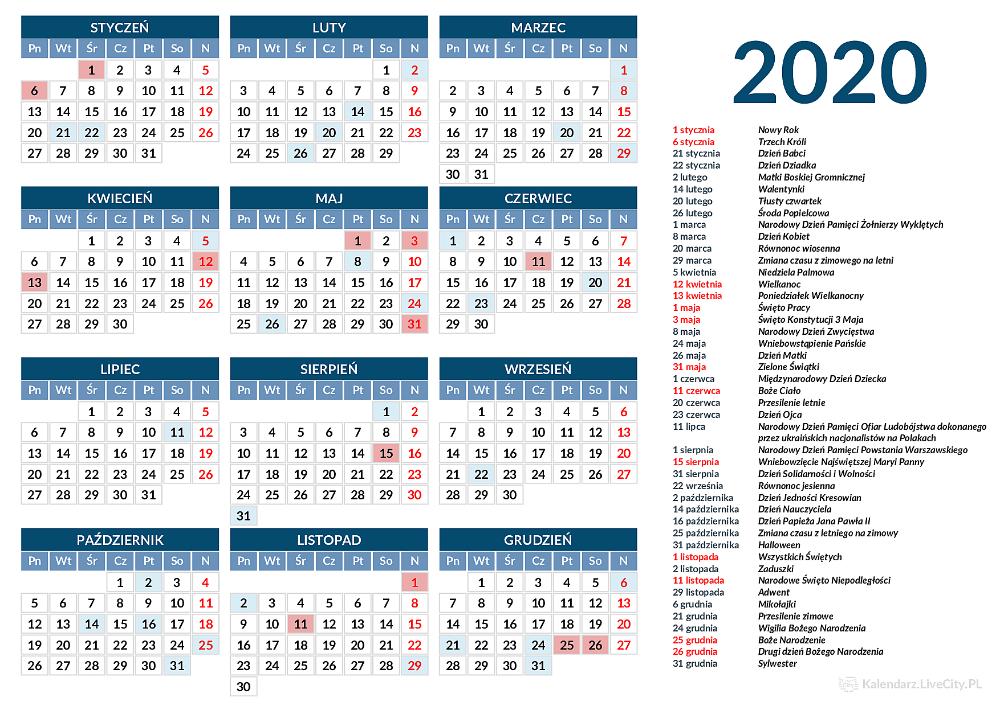 Kalendarz 2020 - Święta, dni wolne i numery tygodni in 2020 ...