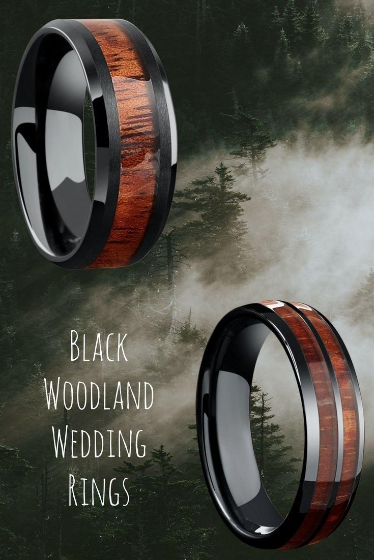 Mens black wood wedding rings These wood wedding rings are