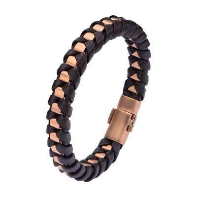 Wrap-Around Adjustable Genuine Leather Bracelet w// Stainless Steel Black IP Beads Dark Brown