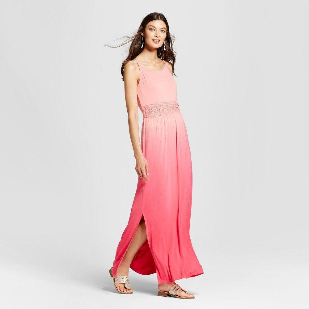 Womenus dip dye maxi dress with crochet waist uknit watermelon