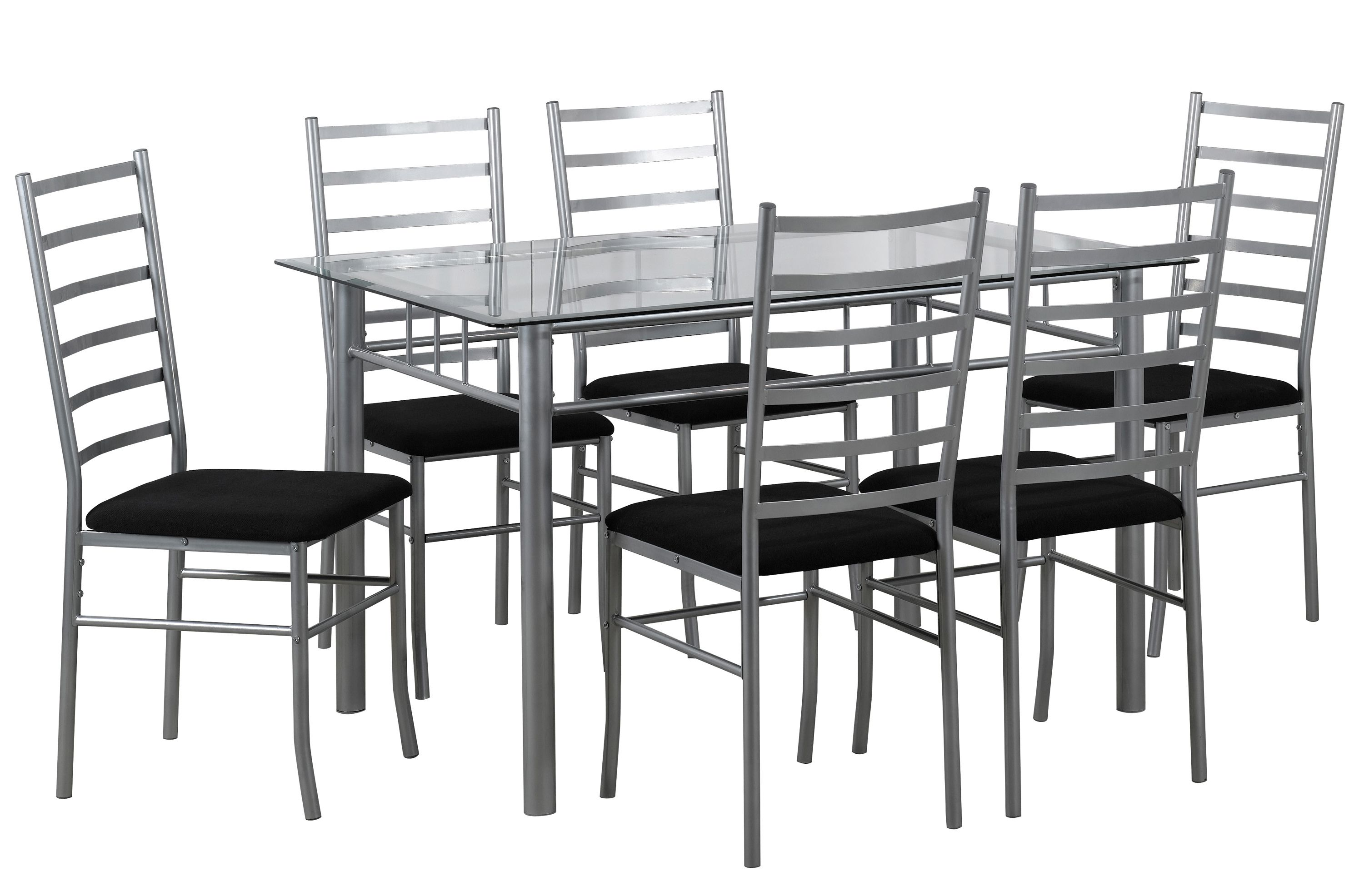 Lincoln Gl Table With 6 Black Faux Leather Chairs Dimensions L1346mm X W889mm