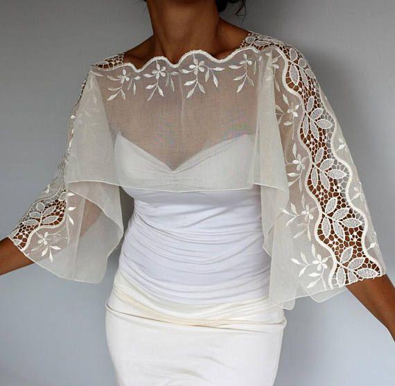 Wedding Gown Cover Ups: Ivory Tulle Wedding Coverup, OOAK Bridal Bolero