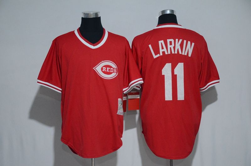 promo code 7c4eb 556d7 Men's Cincinnati Reds #11 Barry Larkin Red Pullover Baseball ...