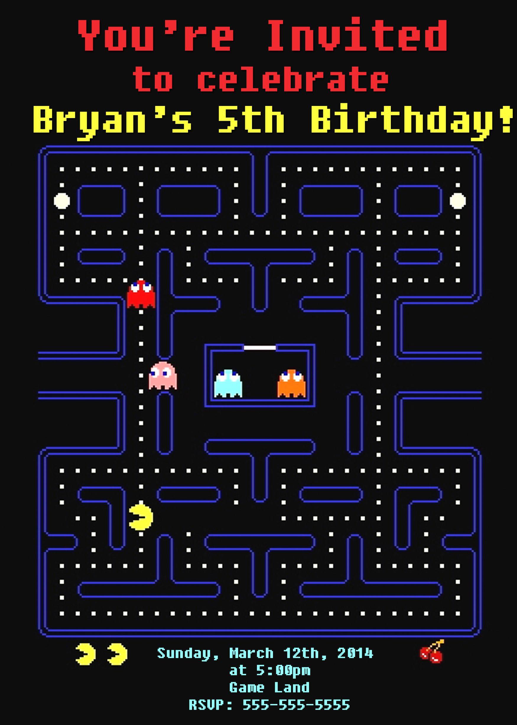 Pac Man Birthday Invitations 8
