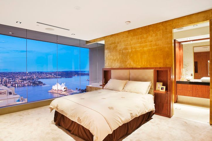 Apartments : Amazing Luxury Apartment Bedroom Design With Yellow Color Wall  Interior And Cream Color Blanket For Warm Nuance Picture   A Part Of  Excellent ...