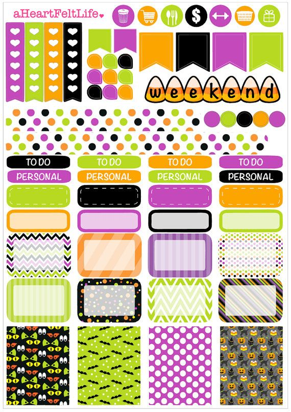 Halloween Weekly Sticker Set for your Planner by aHeartFeltLife