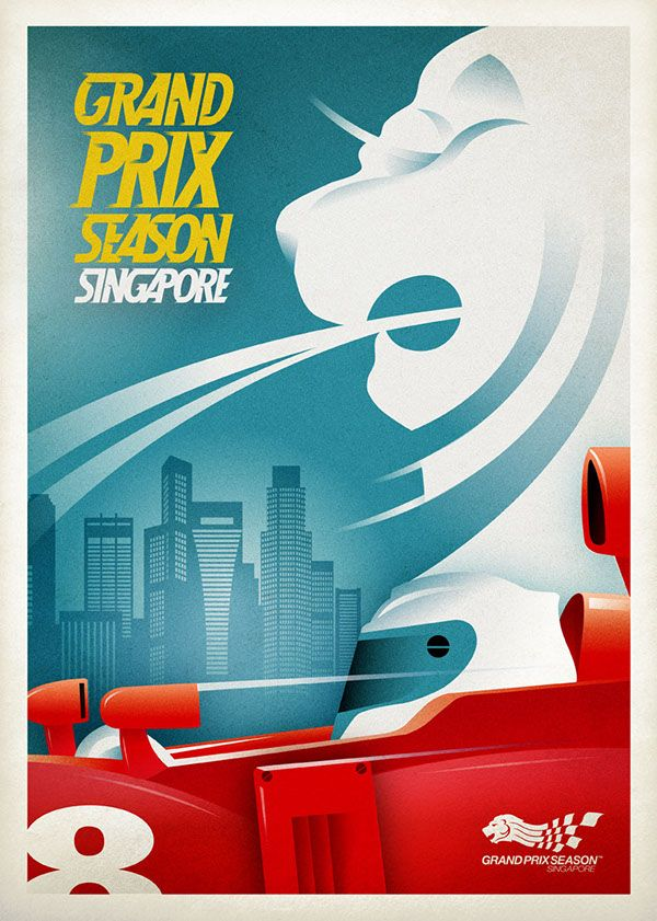 Vintage style racing posters for the singapore f1 grand prix vip hospitality suite illustration dreamgiantcreative dreamgiant merlion travelposter