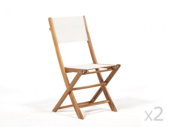 Chaise Pliante En Acacia Fsc Lot De 2 Blanc Encara Beige Blanc Chaise Pliante Bois Chaise Pliante Chaise